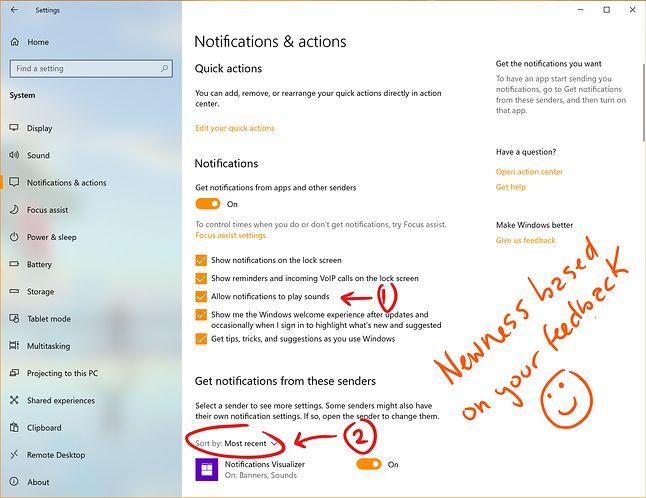 Nowości w ustawieniach powiadomień, w tym sortowanie od najnowszych, źródło: Windows Blog.