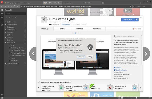 W Chrome Web Store Vivaldi zachowuje się jak przeglądarka Google'a