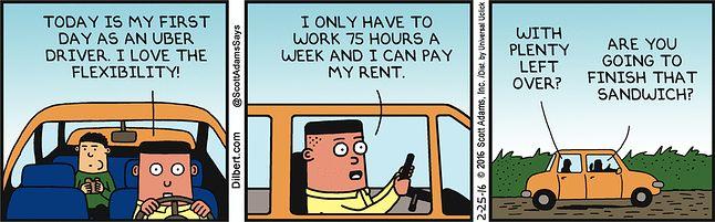 Asok jako kierowca Ubera (źródło: Dilbert.com)