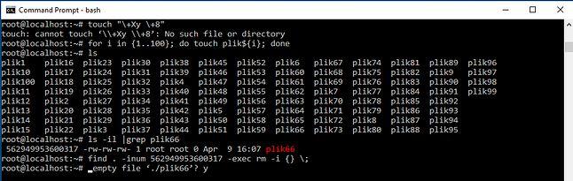 Windows nie zezwala na heretyckie nazwy plików