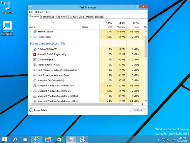Task Manager przedstawia 32-bitowe procesy jako WoW (Windows on Windows)