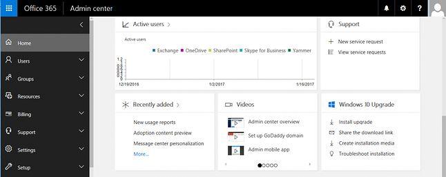 W polu Windows 10 Upgrade panelu administracyjnego Office 365 można uzyskać aktualizację systemu