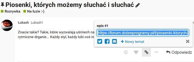 Wiadomość z linkiem do strony forum najłatwiej przesłać za pomocą przycisku udostępniania treści