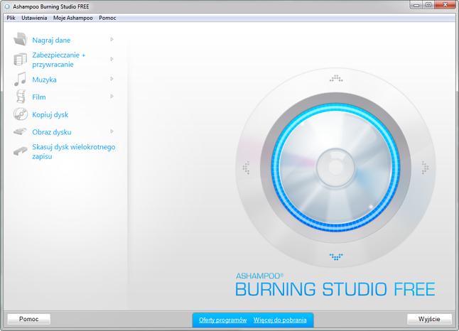 Główne okno programu Ashampoo Burning Studio Free 1.12