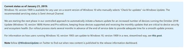 Zaktualizowana informacja o dostępności listopadowej aktualizacji Windows 10, źródło: Microsoft.
