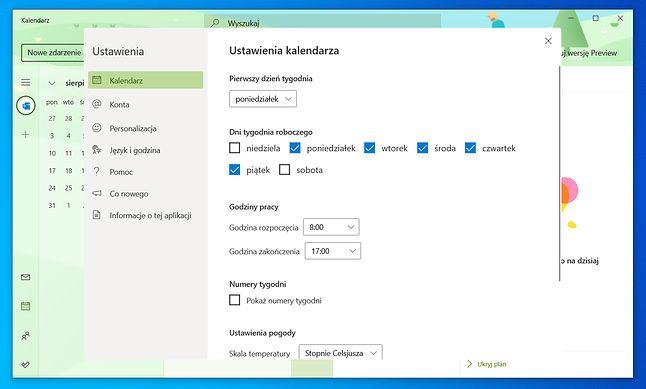 Zaokrąglone rogi niektórych elementów Kalendarza (wersja Preview) w Windows 10 dla Insiderów (kanał Dev), fot. Oskar Ziomek.