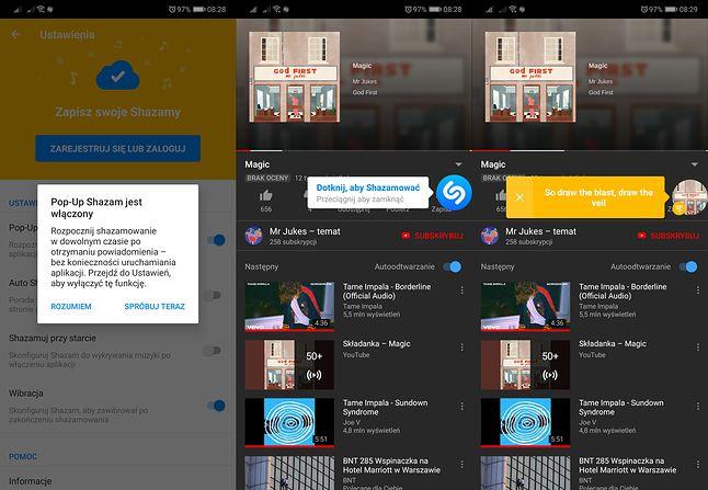 Pop-Up Shazam pozwala rozpoznawać muzykę z dowolnej aplikacji. Wyświetla także teksty piosenek.