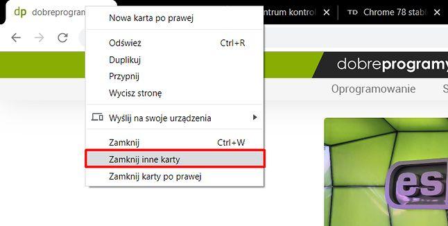 Zamykanie innych kart znów jest dostępne w menu kontekstowym w Google Chrome.