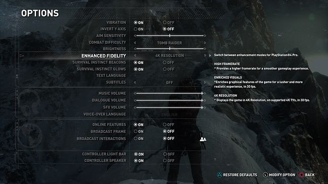 Opcje graficzne w Rise of the Tomb Raider na PS4 Pro