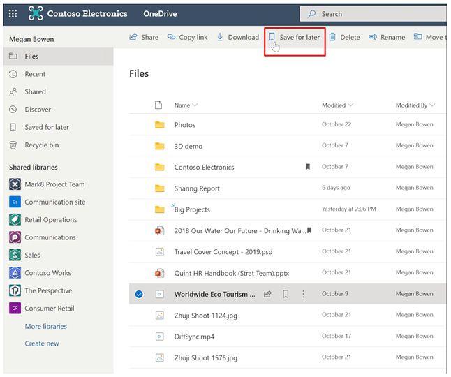 Zapisywanie plików na później w OneDrive, źródło: Microsoft.