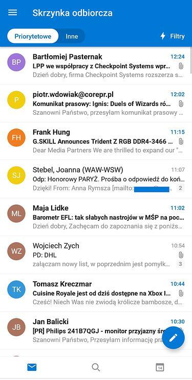 Outlook 3.0 dla Androida – skrzynka odbiorcza