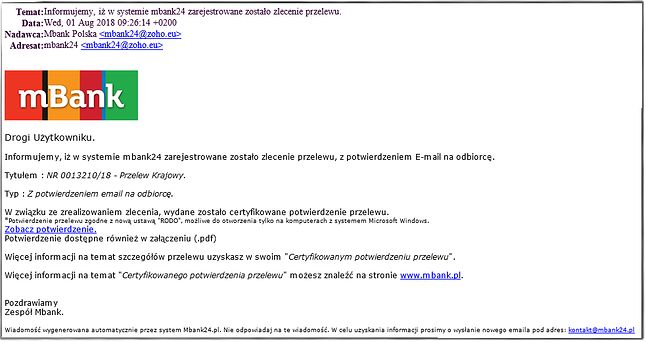 przykładowy szkodliwy e-mail, mBank