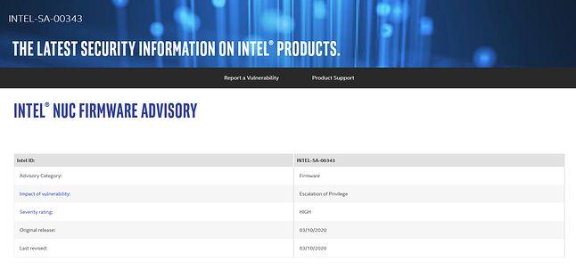 CVE-2020-0530 to Intel NUC