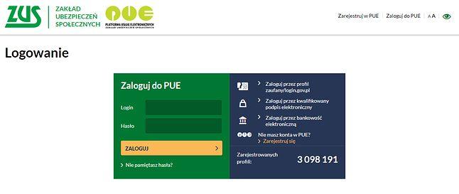 Logowanie do Platformy Usług Elektronicznych, źródło: ZUS.