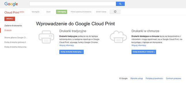 Google Cloud Print – jeszcze działający.