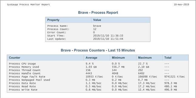 Brave - Raport SysGauge