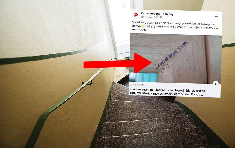 Oznaczają mieszkania? Tajemnicze znaki w Białymstoku. Ludzie się boją