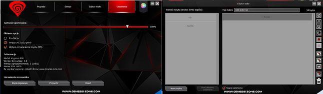 Ustawienia i edytor makr w Genesis Krypton 800 Gaming Software