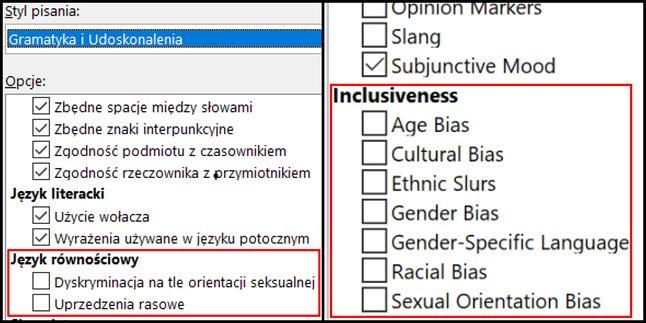 """angielska wersja Worda posiada więcej opcji sprawdzania języka pod kątem """"równościowym"""", fot. Jakub Krawczyński"""