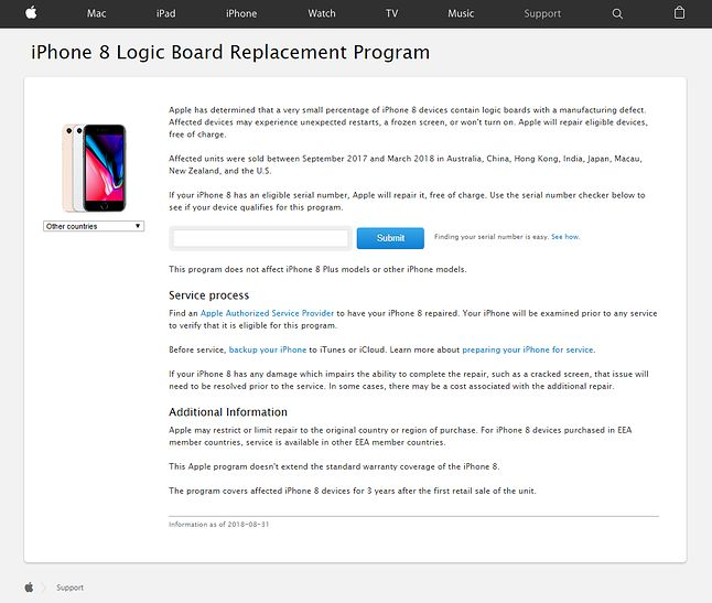 Na stronie Apple można sprawdzić numer seryjny urządzenia, by dowiedzieć się, czy jest wadliwe.