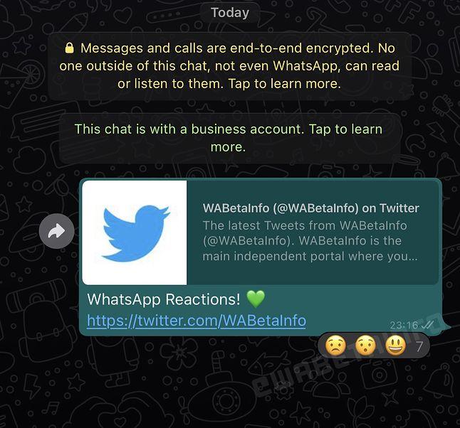 Reakcje w WhatsAppie