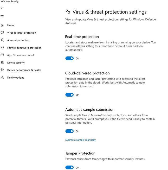 Ustawienia Defendera, w tym opcja ochrony przed naruszeniem integralności, źródło: Microsoft.