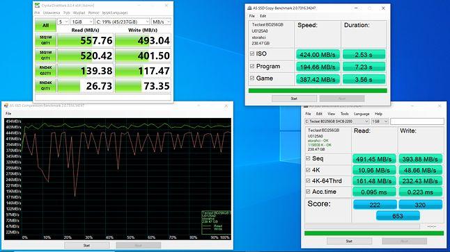 wydajność dysku SSD Teclast 256 GB
