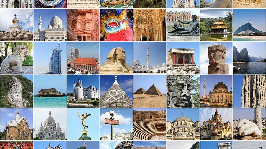 Kolaż fotografii znanych miejsc z depositphotos
