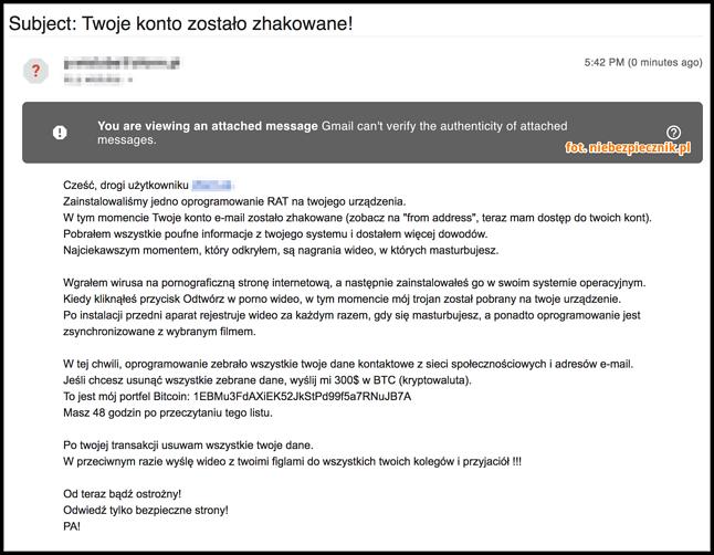 Treść wiadomości e-mail od oszusta, źródło: Niebiezpiecznik.