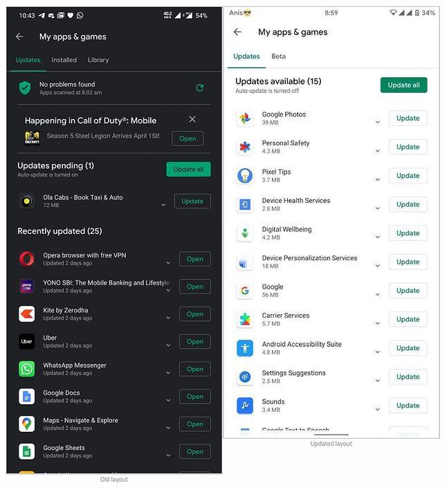 """Po prawej nowy, uproszczony widok menu """"Moje gry i aplikacje"""" w Sklepie Play, źródło: XDA Developers."""
