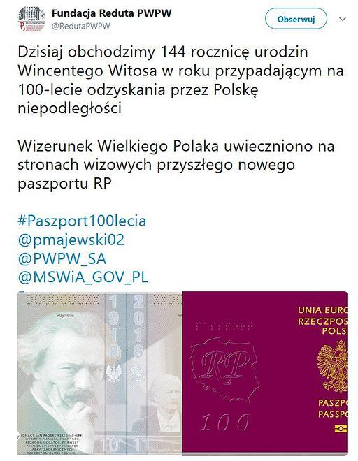 """Fundacja """"Reduta PWPW"""" wstawiła post ze zdjęciem strony paszportu z wizerunkiem Ignacego Paderewskiego, zamiast Wincentego Witosa."""