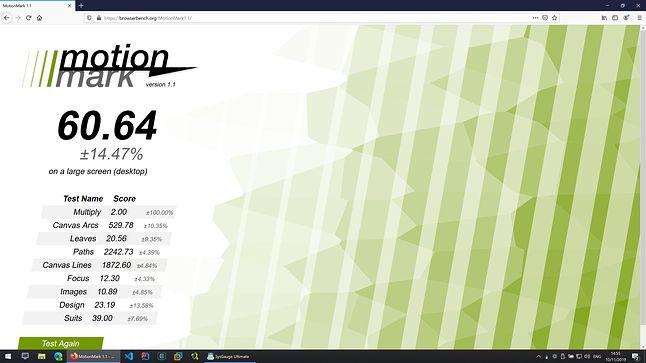 Firefox - MotionMark - Wynik: 60.64