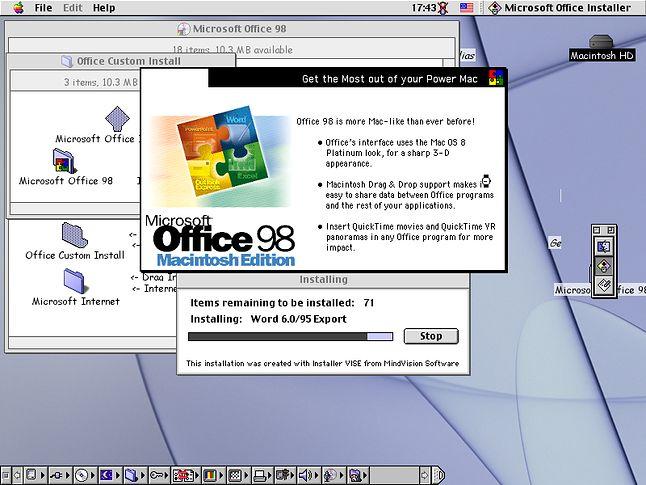 Instalacja Office 98 mogła być metodą drag & drop lub poprzez tradycyjny instaler.