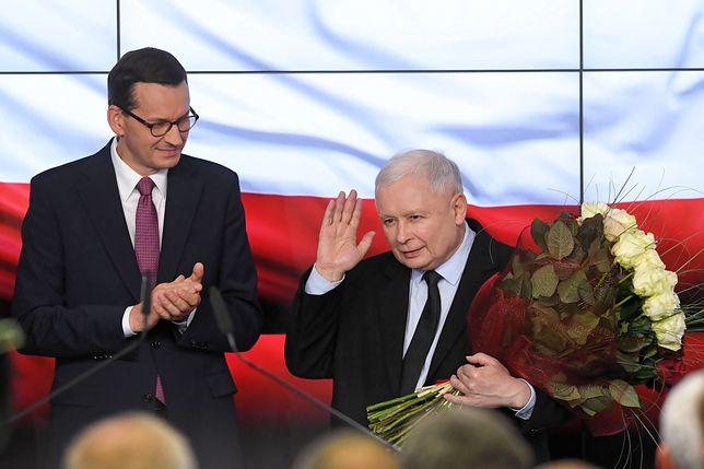 Wyniki wyborów 2019. Premier Mateusz Morawiecki oraz prezes PiS Jarosław Kaczyński