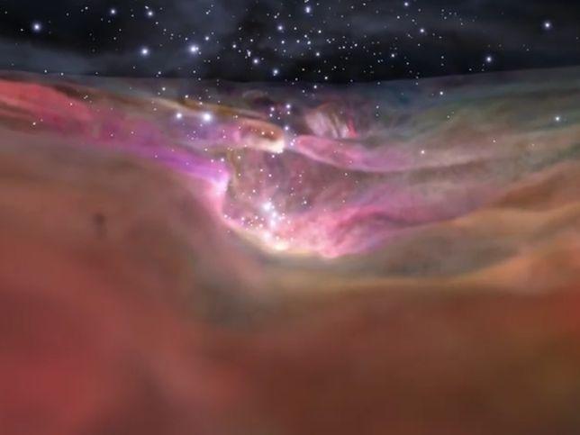 NASA pokazała niesamowitą wizualizację Wielkiej Mgławicy Oriona. Zebrali zdjęcia z teleskopu Hubble'a i Spitzera.