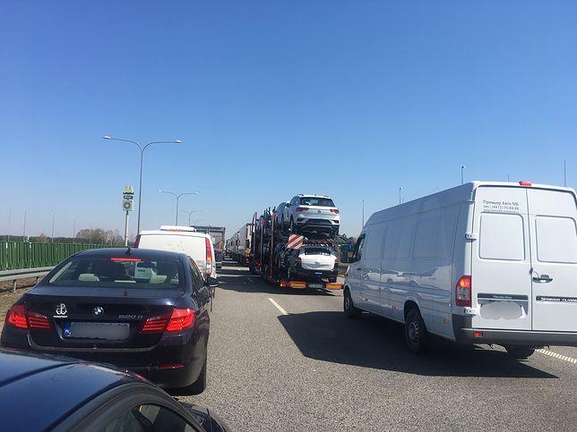Korek na autostradzie A2 w kierunku Warszawy