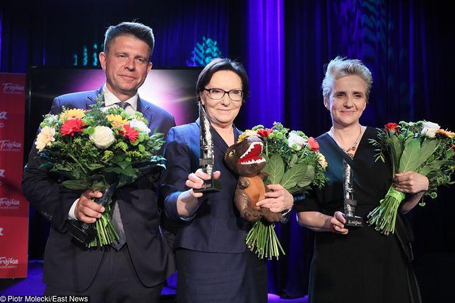 Srebrne Usta. Od lewej: Ryszard Petru, Ewa Kopacz, Joanna Scheuring-Wielgus