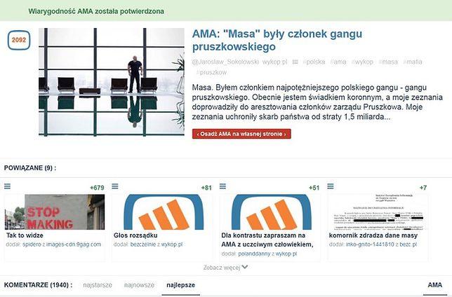 """Kolejna afera na Wykopie. Użytkownicy protestują przeciwko AMA z gangsterem """"Masą"""""""
