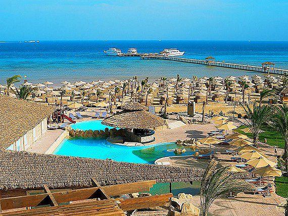 Widok na plażę z hotelu Amwaj Blue Beach