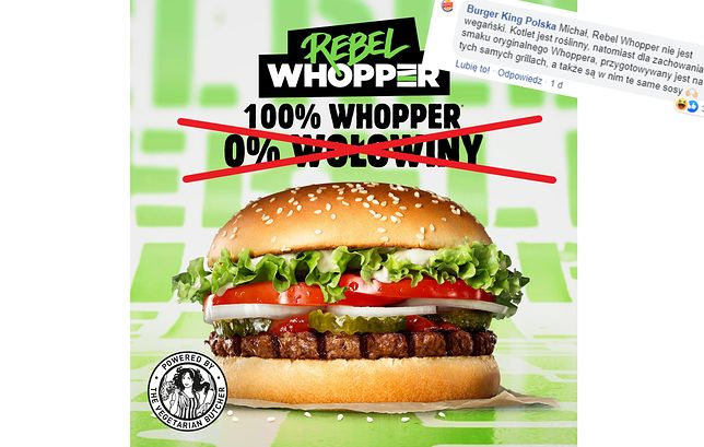 """""""Roślinny"""" burger jest smażony na tłuszczu wołowym. Dla kogo oferta Burger King?"""