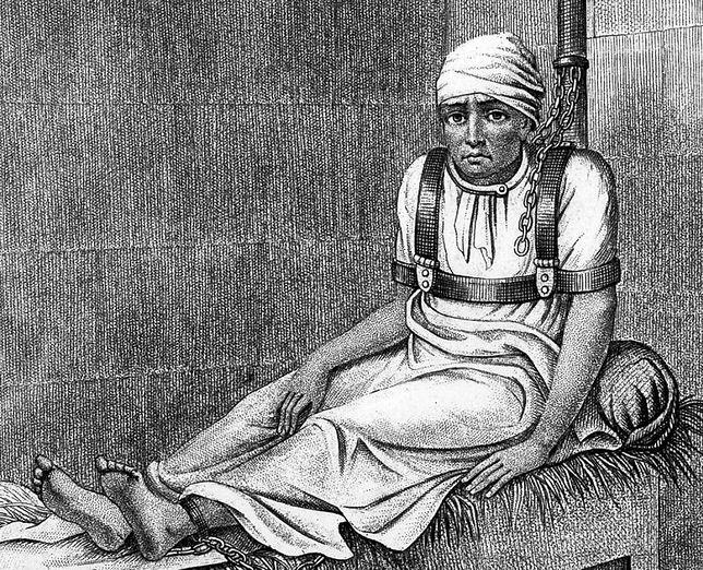 """""""Leczenie"""" w londyńskim szpitalu Bedlam. Rysunek z pierwszej połowy XIX wieku"""