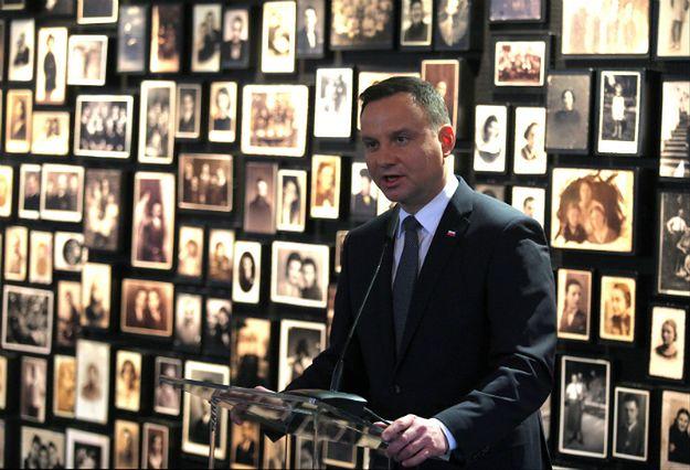 Prezydent Andrzej Duda podczas przemówienia na terenie byłego KL Auschwitz