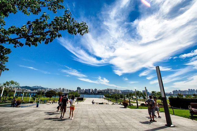 Park to gęsto zaludnione miasto przedzielone rzeką Cheonggyecheon