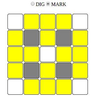 Szare pola są rozkopane, żółte podejrzane są o bombowe nastawienie