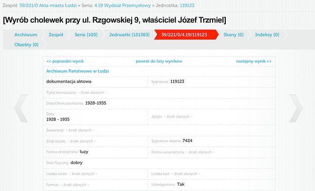 wpis dotyczący zakładu cholewnika Józefa Trzmiela