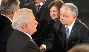 Lech Wałęsa z Lechem i Marią Kaczyńskimi