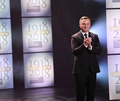 """Prezydent Andrzej Duda, podczas uroczystej gali """"100 Pomników Historii na Stulecie Odzyskania Niepodległości"""""""
