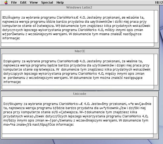 Ten sam teks w różnych formatach kodowania.