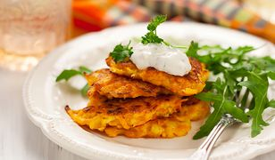 Carrot pancakes with rucola and  yoghurt