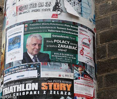 Plakat Roberta Gwiazdowskiego w Bolesławcu w Dolnośląskiem
